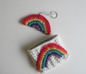 Rainbow Wallet and Keychain Set, white cotton with star print lining, ready to ship.