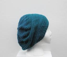 Dark Teal Two Tone Crochet Slouch Hat, ready to ship