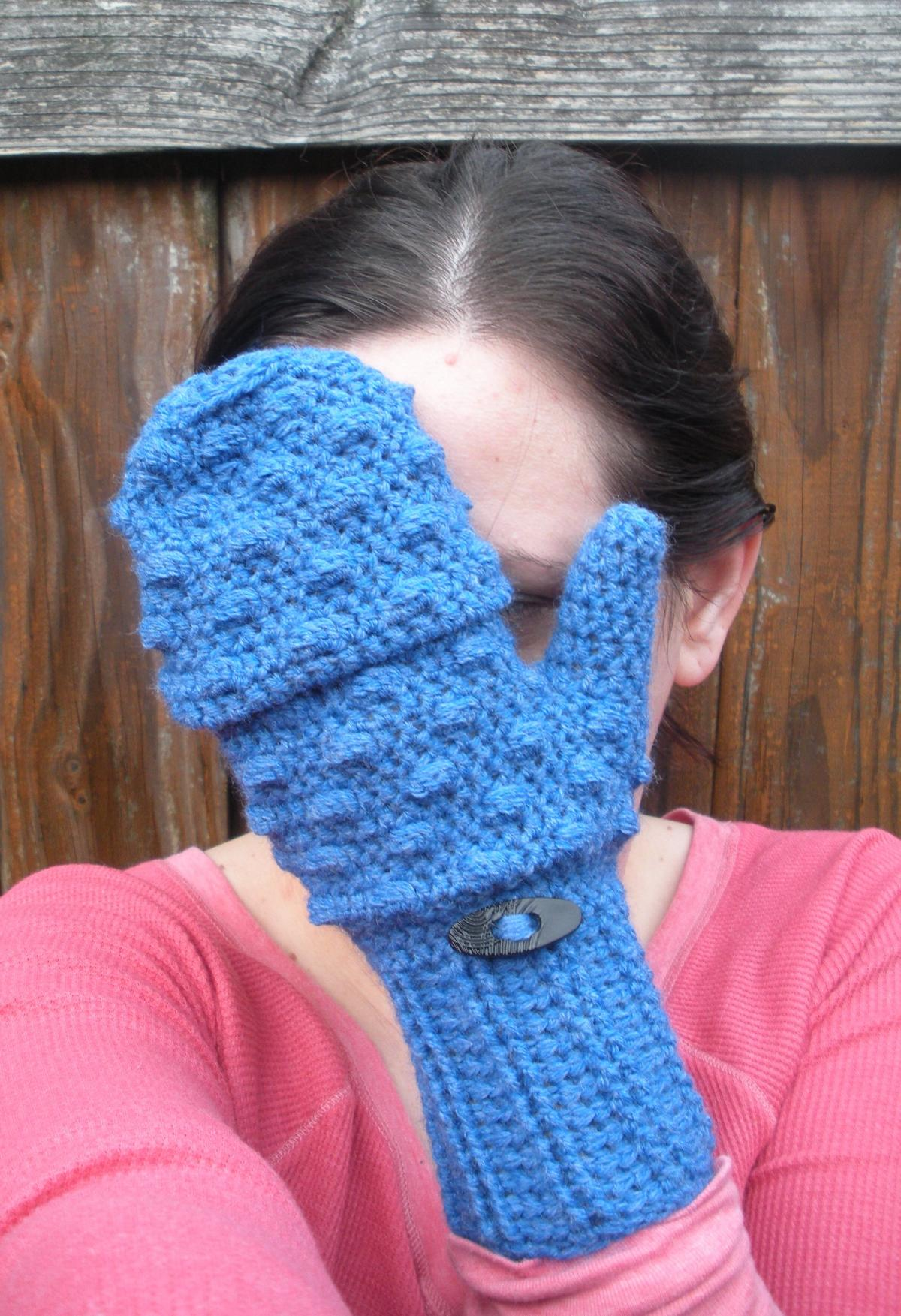 Mens gloves with mitten flap - Convertible Mittens In Vibrant Blue Crochet Fingerless Mitten Gloves Ready To Ship