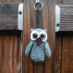 Miniature Plush Crochet Owl Keychain in light turquoise blue variegated, ready to ship.
