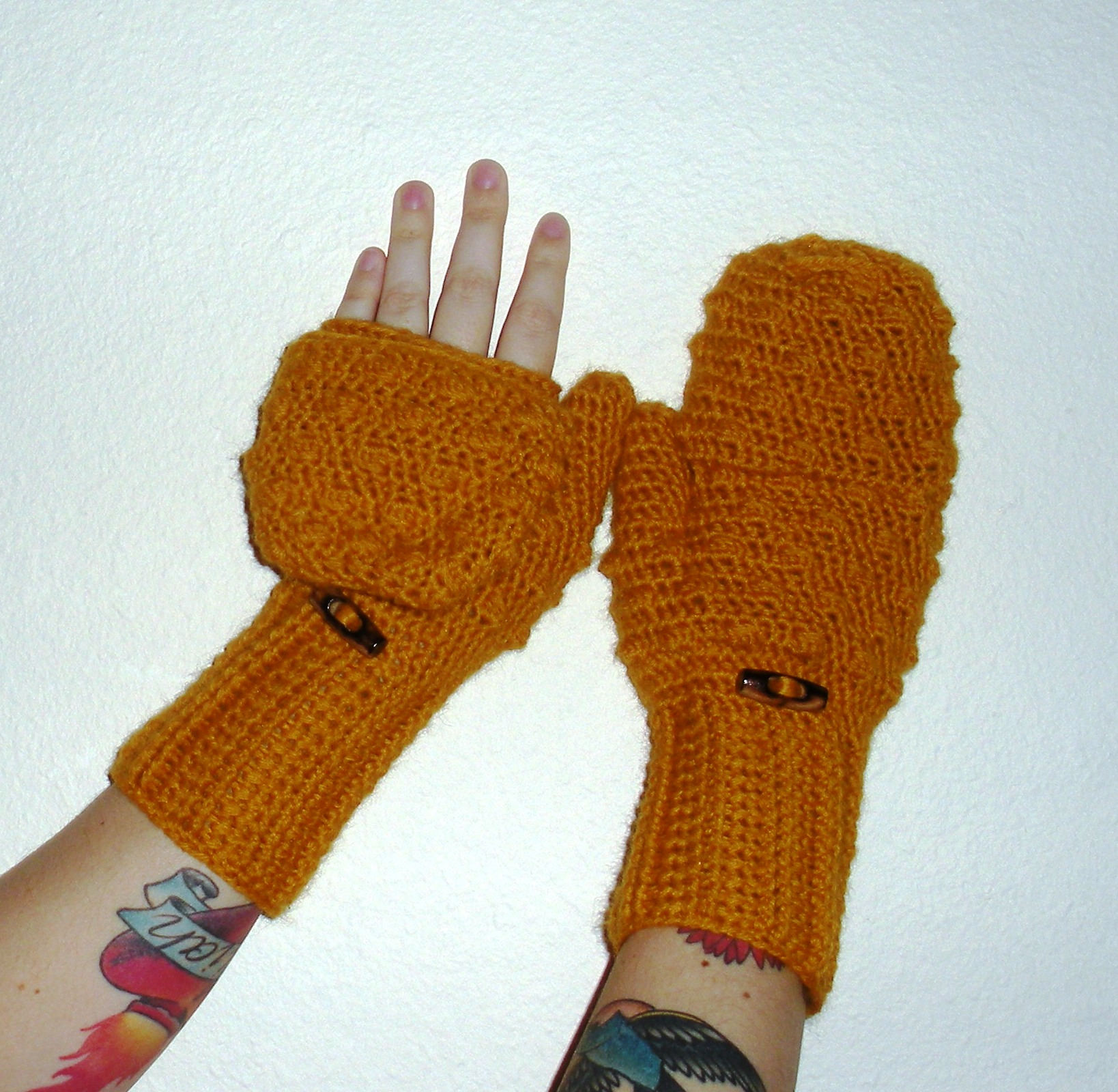Fingerless gloves canada - Convertible Crochet Fingerless Glove Mittens In Mustard Yellow Wool Blend Yarn Ready To Ship